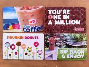 Dunkin Donuts Collectible Gift Cards Summer Series 2013 Set of 4 Cards Mint