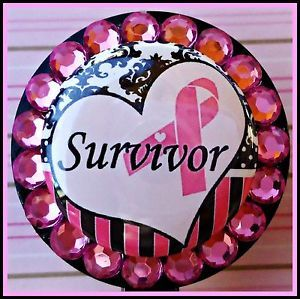 Breast Cancer Pink Ribbon Bling ID Reel Badge Holder