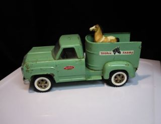 1960's Tonka Farms Pickup Truck Horse Trailer Old Decals Vintage Steel Toy