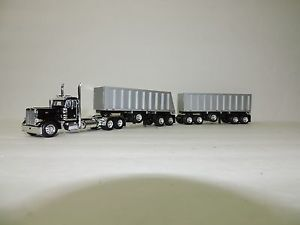 DCP Black Peterbilt 379 Daycab w Custom Styrene Michigan Gravel Train 1 64