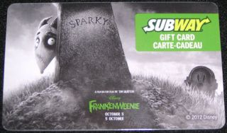 Subway Canada Gift Card Frankenweenie Sparky Dog Disney 2012 No Value Eng French