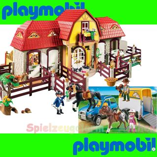 Playmobil Set 5221 5223 Large Riding Barn with Paddocks Truck Horse Trailer