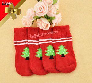 4pcs 1 Set Happy New Year Pet Dog Christmas Tree Anti Slip Traction Pad Socks