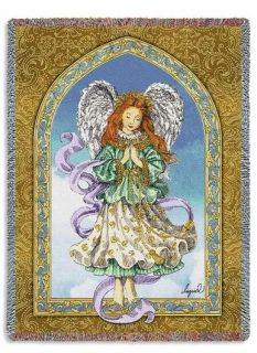 Guardian Angel Celestial Praying Religious Tapestry Throw Afghan Bed Blanket