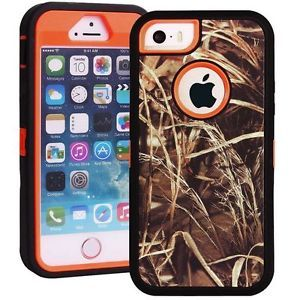 Heavy Duty Straw Grass Real Tree Camo Defender Case for iPhone 5 5S Orange