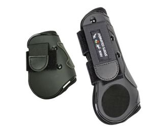 HKM Black Show Jumping Tendon and Fetlock Boots Shock Absorbing Gel Padded