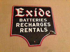 Old Exide Car Auto Battery Service Station Sales Rack Display Advertising Sign