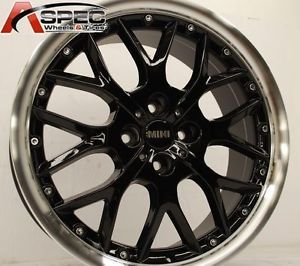 17x7 Mini Style 4x100 42 Gloss Black Machined Lip Wheels Rims Fit Mini Cooper S