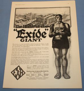 Vintage 1918 Exide Car Battery Ad Giant in A Box