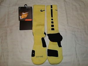 Custom Cushioned Basketball Elite Socks Yellow and Black LG 8 12 RARE