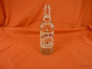 "Sun Rise Beverages 7 Ounce Soda Bottle ""Property of Coca Cola Bottling Co """