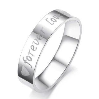 """Lover's 316L Stainless Steel Unisex Ring with Engraved Heart """"Forever Love"""""""