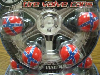 4 Rebel Flag Confederate Flag Valve Stem Caps Covers Car Truck RV Trailer