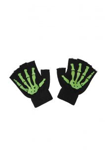 Black Green Glow In The Dark Skeleton Fingerless Gloves