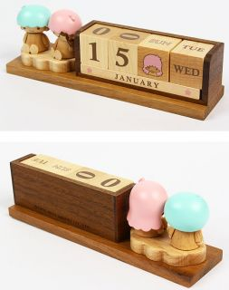 Little Twin Stars Wooden Block Perpetual Desk Calendar Sanrio Wood Office Decor