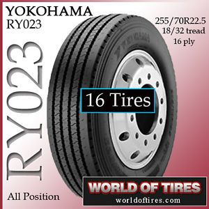 16 Tires Yokohama RY023 255 70R22 5 22 5 Tire Semi Truck Tires 255 70 22 5 25570
