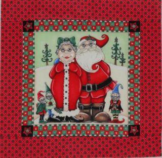 "Mr Mrs Santa Claus 14 5"" x 15"" Quilt Block Top Complete Mini Quilt Kit Batting"