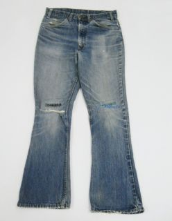 Vintage 70s Levi's Orange Tab 646 Small E Hippie Rip Repair Flared Jeans 31 D4