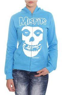Misfits Fiend Skull Turquoise Girls Zip Hoodie   956472