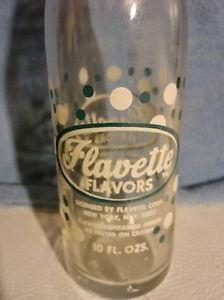 Old Vintage Flavette Flavors Beverages Soda Pop Bottle 10 FL Oz