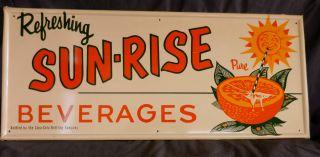 Original Sun Rise Beverages Tin Advertising Sign 1950's Coca Cola Bottling