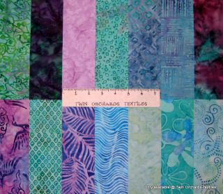 "Batik Fabric Jelly Roll Canasta Mint Green Grape Purple 14 Pre Cut 2 5"" Strips"
