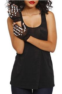 Skeleton Fishnet Fingerless Gloves   125285