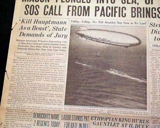 USS Macon ZRS 5 United States Navy Airship Pacific Ocean Crash 1935 Newspaper