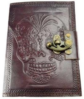 Locking Leather Bound Day of The Dead Book of Shadows Journal or Diary