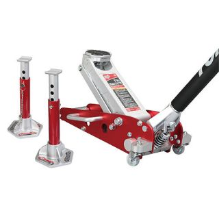 Torin Big Red 1 5 Ton Professional Low Profile Aluminum Floor Jack with Stands