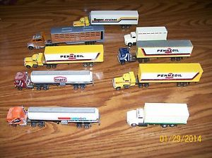 Huge Custom Lot of 9 Semi Trucks with Trailers Tanker Trailers and Box Trucks