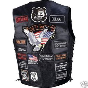 42 Patch Genuine Mens Leather Vest Motorcycle Gear Biker Vest Biker Accessories
