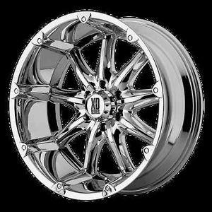 "18"" x 9"" XD Badlands Chrome Rims w 35x12 50x18 Toyo Open Country MT Tire Wheels"