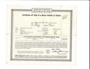 Vintage 1950 Ford 2 Door Car Auto Title RARE Historical Document Michigan