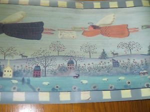 Vintage Primitive Country Flying Angels Wallpaper Wall Border Blue Trim EH00065