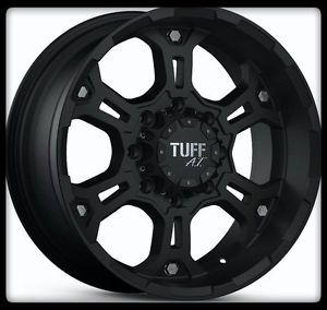 """16"""" x 8"""" Tuff T03 Black Rims 225 70 16 Toyo Open Country A T Wheels Tires"""