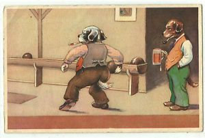 Comic Dogs Playing Bowling Old Art Postcard
