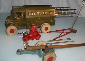 Antique Cast Iron Hubley Bell Telephone Truck w Accessories Ladders Tools Etc