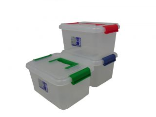 Clear Plastic Storage Containers with Clip Locks and Handle 24cm x 16cm