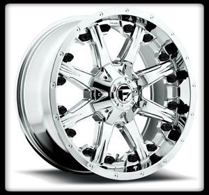 """20"""" Fuel Nutz PVD Chrome Rims 33x12 50x20 Toyo Open Country M T Tires Wheels"""
