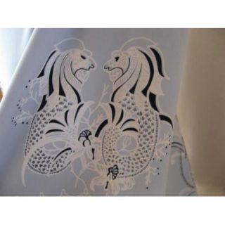 Mens 7 Diamonds Blue Tattoo Dragon Print Short Sleeve Relax Bowling Shirt XL