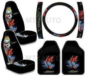 Ed Hardy Koi Fish Seat Covers Steering Wheel Cover Car Mats Combo 5pc Set