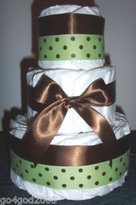 L K Brown Green Diaper Cake Baby Shower Boy Girl