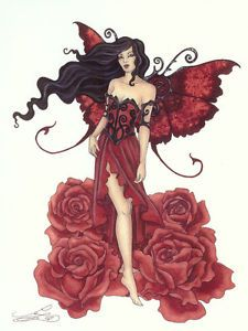 Amy Brown Print Fairy Red Rose Faery Flower Black New