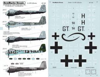 1 48 Junkers Ju 188A D 2 E 1 KG 66 KG 26 1 F 124 Luftwaffe Aeromaster Decals