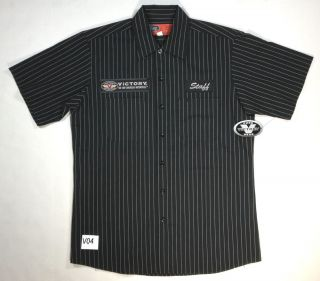 V04 Victory Motorcycle Mens Black Striped Pit Crew Staff Shirt Medium