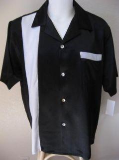 New 50s Retro Tattoo Black 2Tone One Panel Hipster Bowling Shirt XXL 2XL Short
