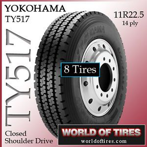 8 Tires Yokohama TY517 11R22 5 Semi Truck Tire 11R22 5 Tires 22 5 22 5 11 22 5