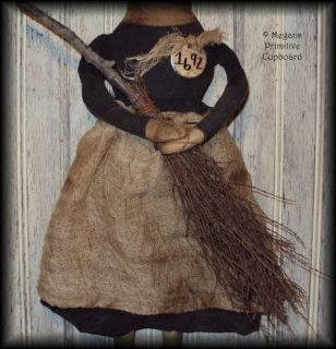Primitive Fall Halloween Witch Doll w Broom Handmade Prim Grungy
