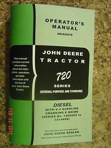 John Deere 720 Diesel Tractor Operators Manual 720D D Cranking Engine Pony Early